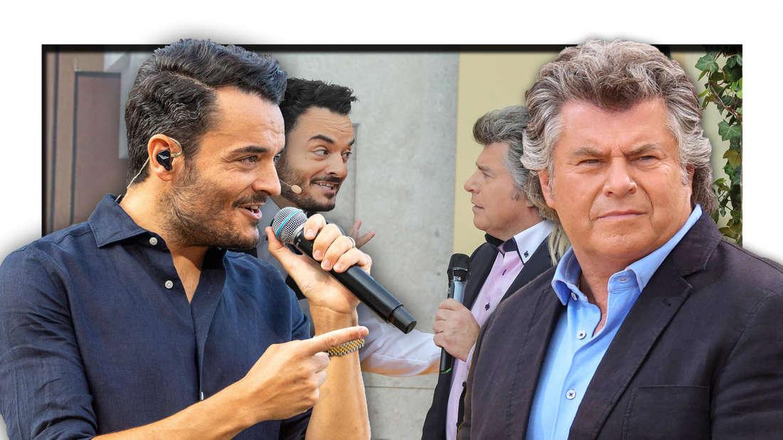 """Die Schlagerstars Giovanni Zarrella und Andy Borg stehen vor einer Szene, welche die beiden bei """"Immer wieder sonntags"""" zeigt (Fotomontage)"""