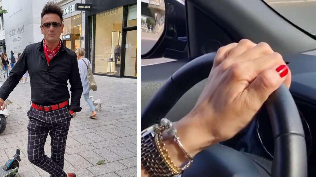 Fotomontage: Ennesto Monté in Düssendorf, eine Hand mit roten Nagellack am Steuer eines Autos