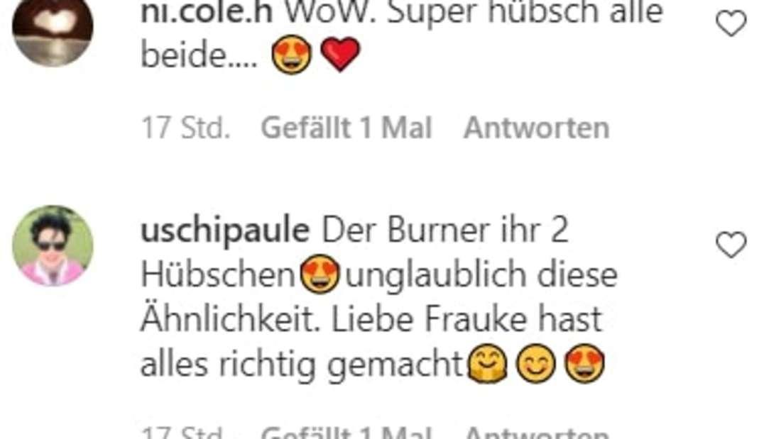 Screenshot der Instagram-Kommentare unter Fraukes Bild