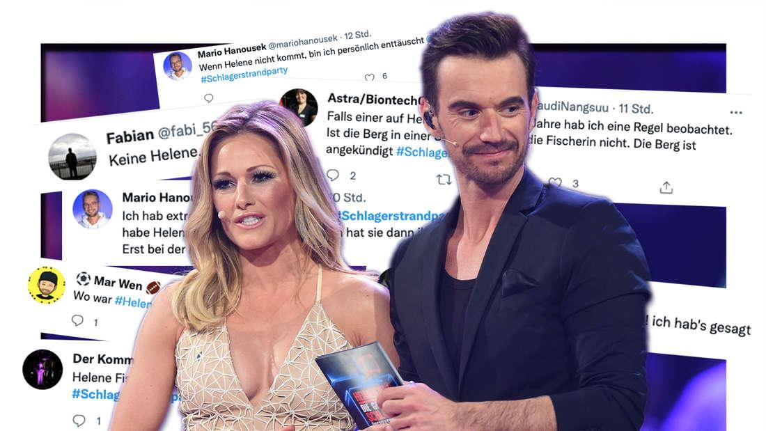 """Helene Fischer und Florian Silbereisen stehen auf der Bühne der Samstagabendshow """"Heimlich! - Die große Schlager-Überraschung"""" in den Bavaria Filmstudios. Twitter-Reaktionen zur Schlagerstrandparty (Fotomontage)"""