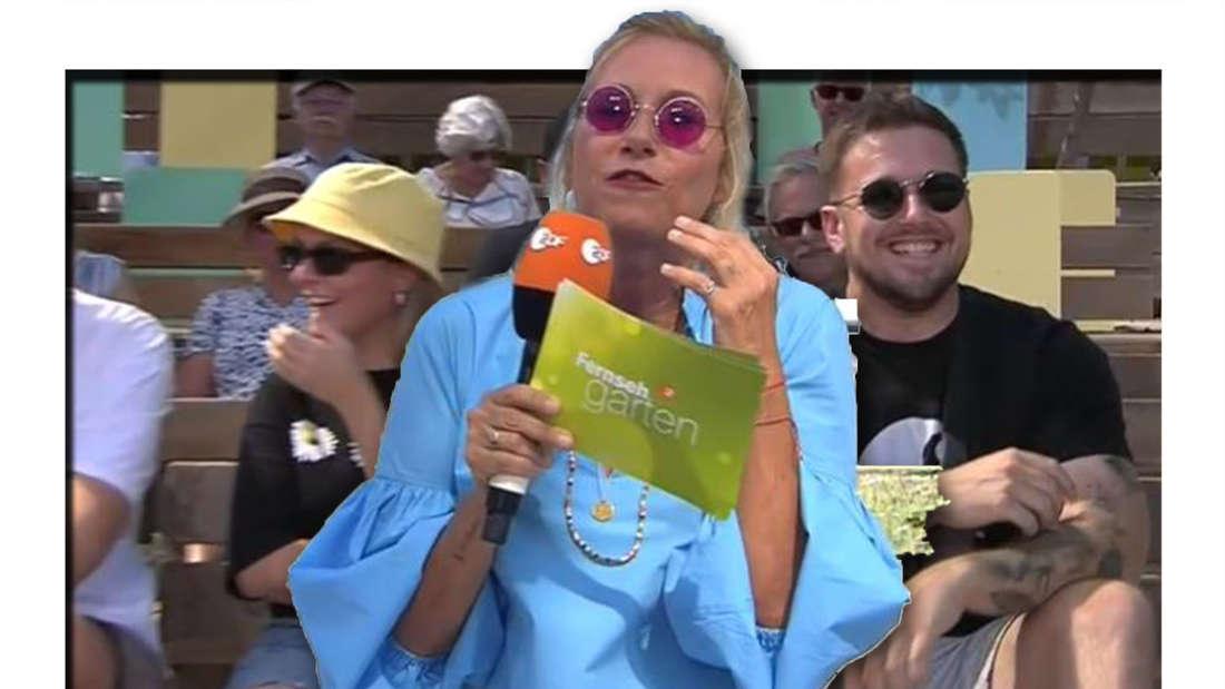 Fotomontage: Vorn Andrea Kiewel, hinten der Zuschauer und seine Begleiterin
