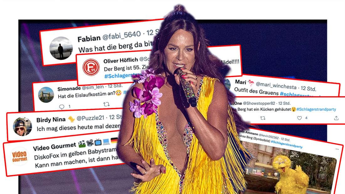 Andrea Berg steht auf der Bühne zur großen Schlagerstrandparty zum 40. Geburtstag von Florian Silbereisen. Twitter-Reaktionen auf das gelbe Fransenkleid von Andrea Berg (Fotomontage)