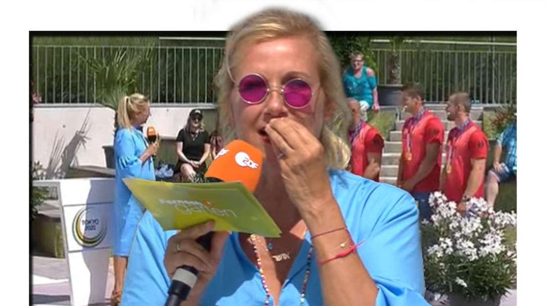 Fotomontage: Andrea Kiewel im Vordergrund, hinten ist sie mit den Olympiasiegern des Kajak-Vierers.