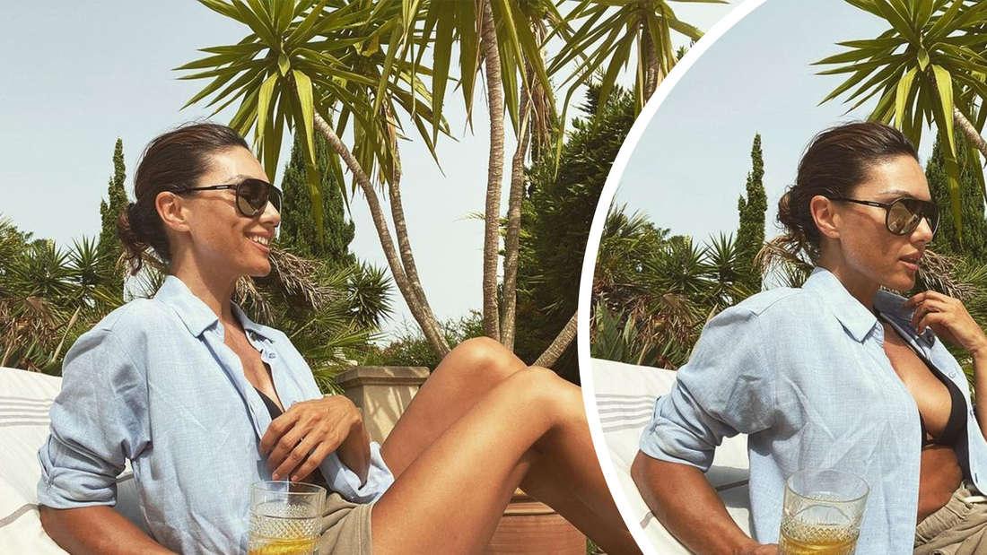 Zwei Bilder von Nazan Eckes auf einer Sonnenliege. Sie trägt eine Shorts und ein offenes Hemd über dem Bikini.