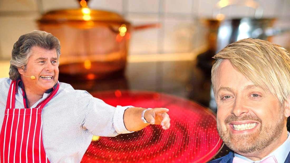Schlagerlegende Andy Borg trägt eine Schürze, schaut zur rechten Seite und zeigt mit dem Finger in dieselbe Richtung. Sänger Ross Antony lächelt in die Kamera. Im Hintergrund ist ein erhitztes Ceranfeld zu sehen.