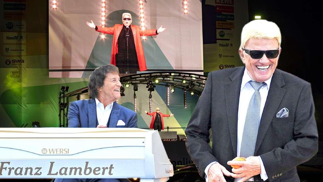 Zu sehen sind der Organist Franz Lamber, der auf einem Flügel spielt, sowie Schlager-Legende Heino, der Anzug trägt und lacht.