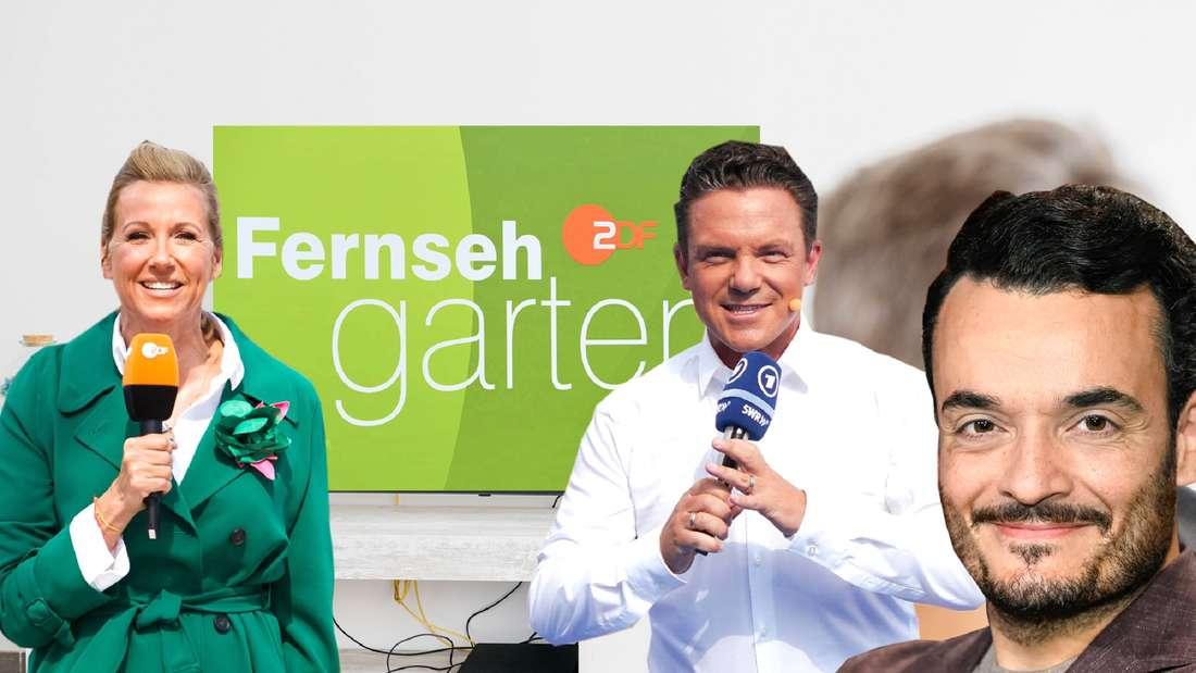 Zu sehen sind die Moderatoren Andrea Kiewel, Stefan Mross und Giovanni Zarrella. Im Hintergrund ist das Logo vom ZDF-Fernsehgarten zu sehen, das auf einem TV-Bildschirm angezeigt wird.