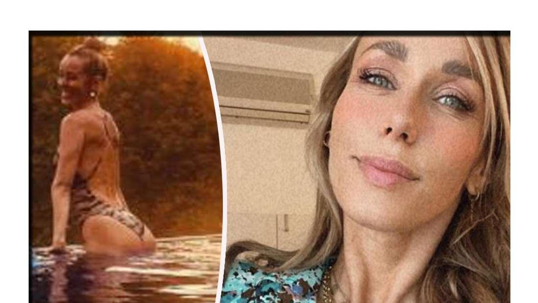 Fotomontage: Annemarie und Mads Carpendale im Pool, daneben sie allein