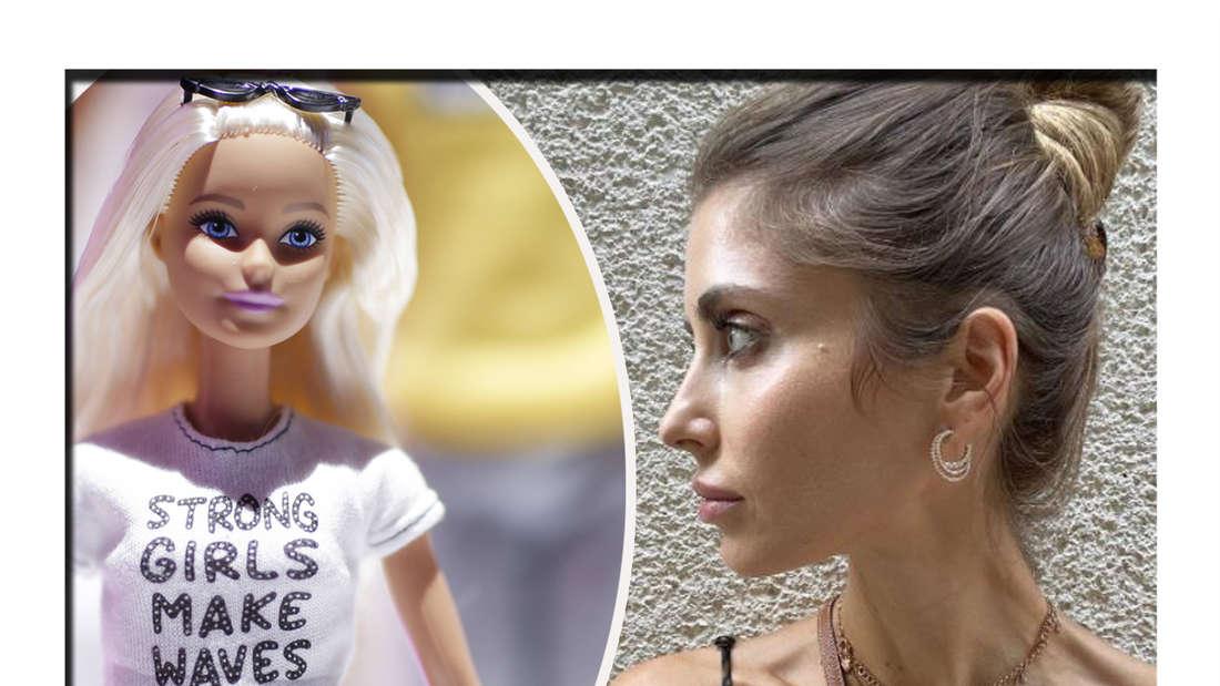 Fotomontage: Cathy Hummels und eine Barbie