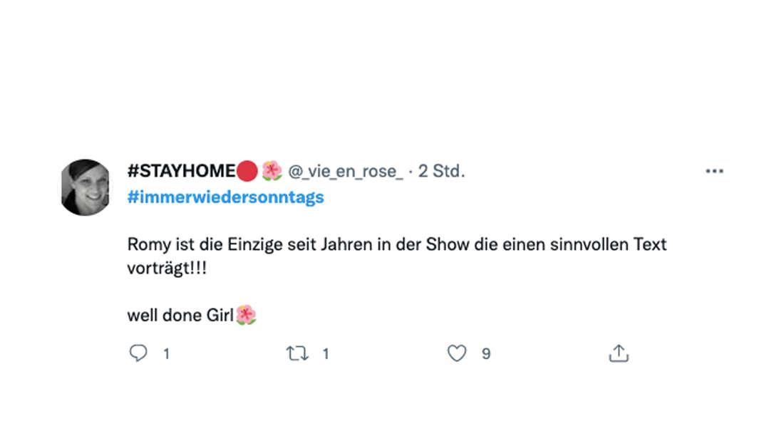 """Romy tritt am 22. August bei """"Immer wieder sonntags"""" auf. Twitter liebt sie."""