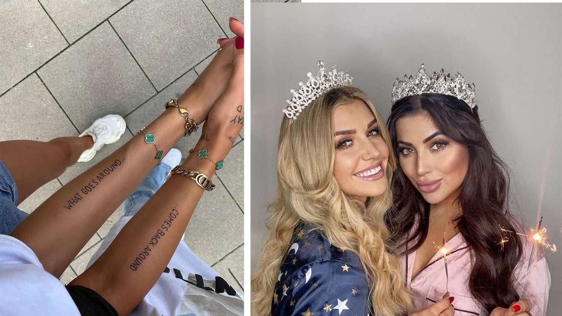 Fotomontage: links die beiden Arme mit den Tattoos, rechts Gerda und Asena