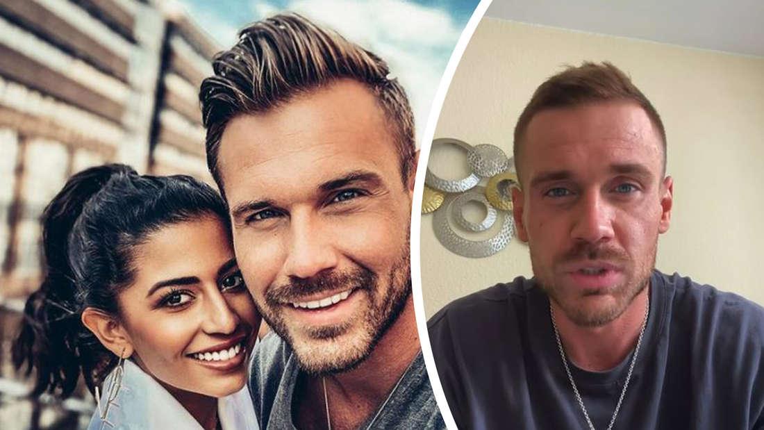 Fotomontage: links Chris und Eva noch verliebt, rechts Chris in seinem Video