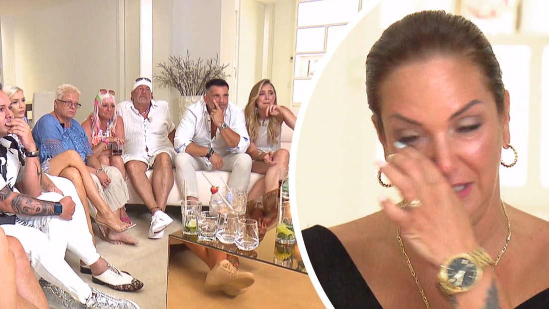 Fotomontage: die Goodbye Deustchland Kandidaten auf der Couch, Danni in Tränen