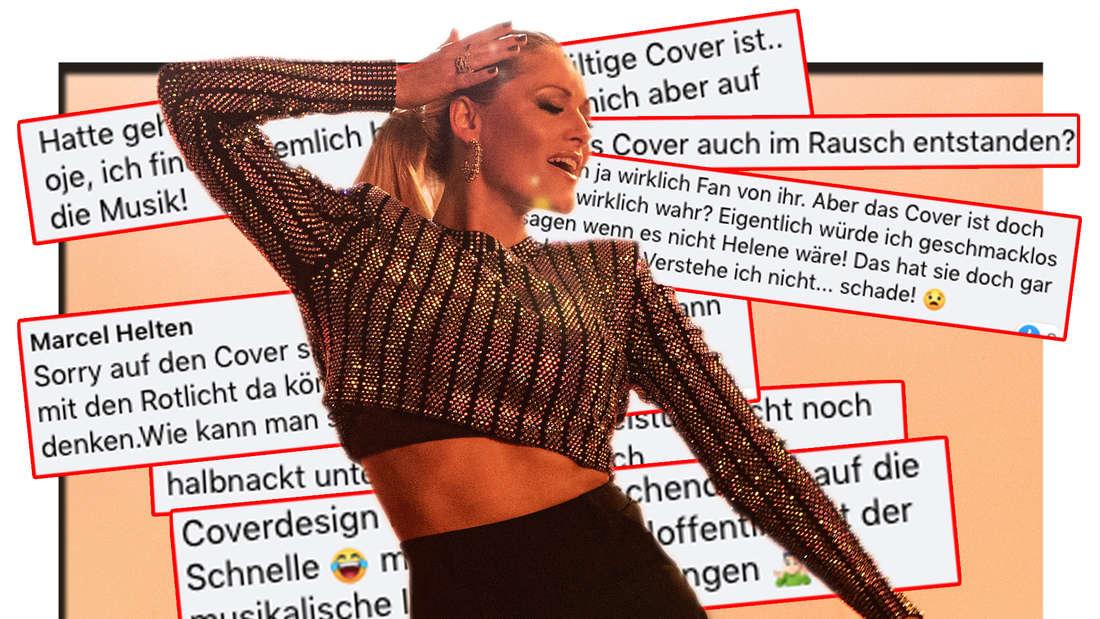 """Helene Fischer während Aufnahmen für ihr Video von """"Vamos a Marte"""". Facebook-Kommentare bezüglich ihres neues Albumcovers zu """"Rausch"""". (Fotomontage)"""