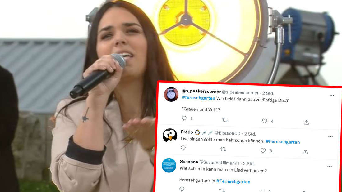 Maria singt, daneben die Twitter Kommentare