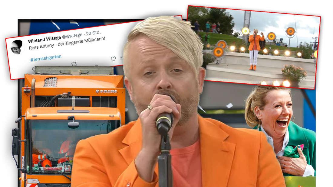 Schlagersänger Ross Antony steht neben einem orangen Müllwagen und ZDF-Fernsehgarten-Moderatorin Andrea Kiewel (Fotomontage)