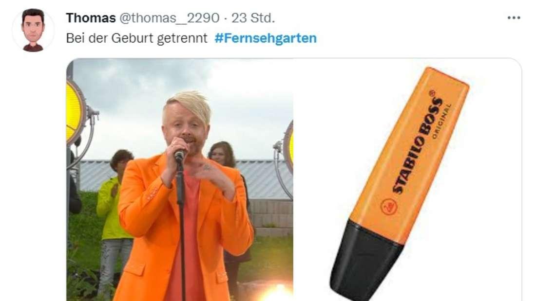 Ein Twitter-Post, in welchem ein Nutzer Ross Antonys oranges ZDF-Fernsehgarten-Outfit mit einem gleichfarbigen Leuchtstift vergleicht