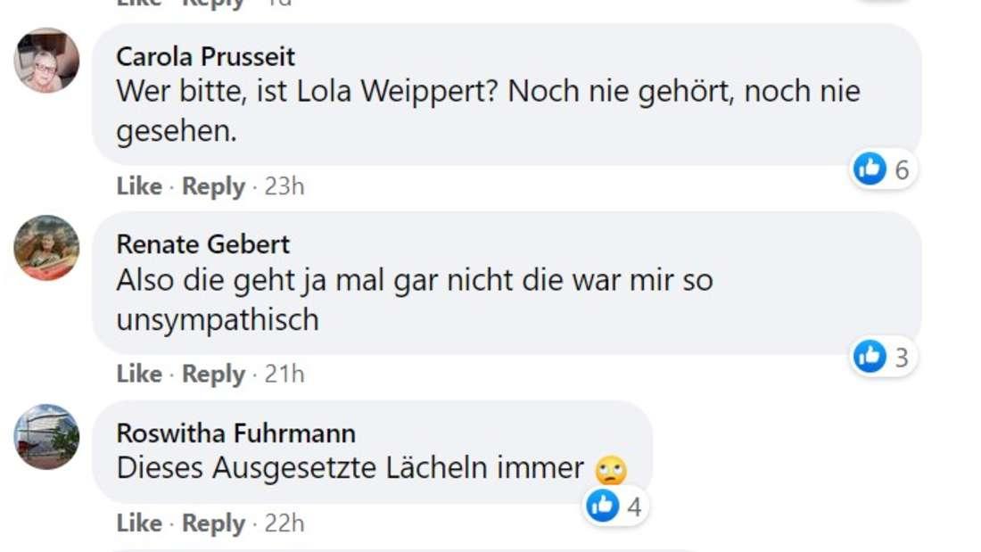 Facebook Kommentare über Lola Weippert