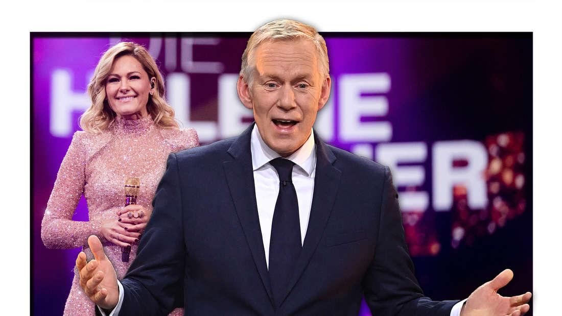 ZDF-Moderator Johannes B. Kerner steht vor Schlagerstar Helene Fischer, welche neben dem Logo ihrer Show posiert (Fotomontage)