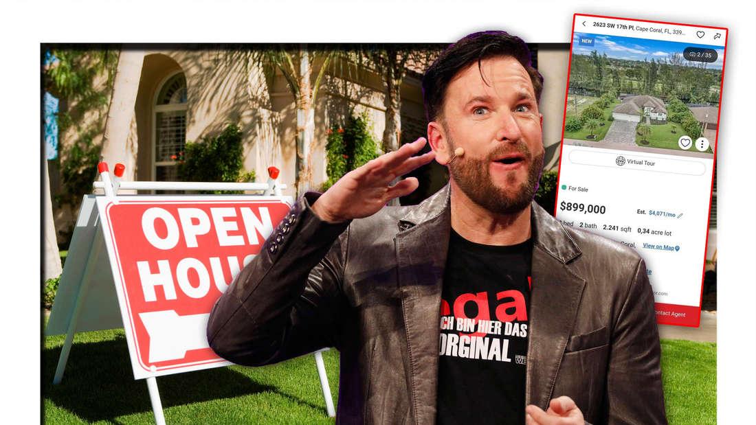 Schlagerstar Michael Wendler steht vor einem Haus, welches zu verkaufen ist, daneben das Online-Inserat seiner Villa (Fotomontage)