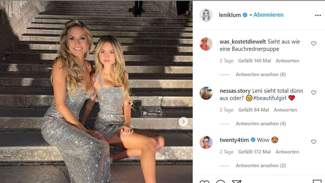 Leni und Heidi Klum in passenden Glitzerkleidern.