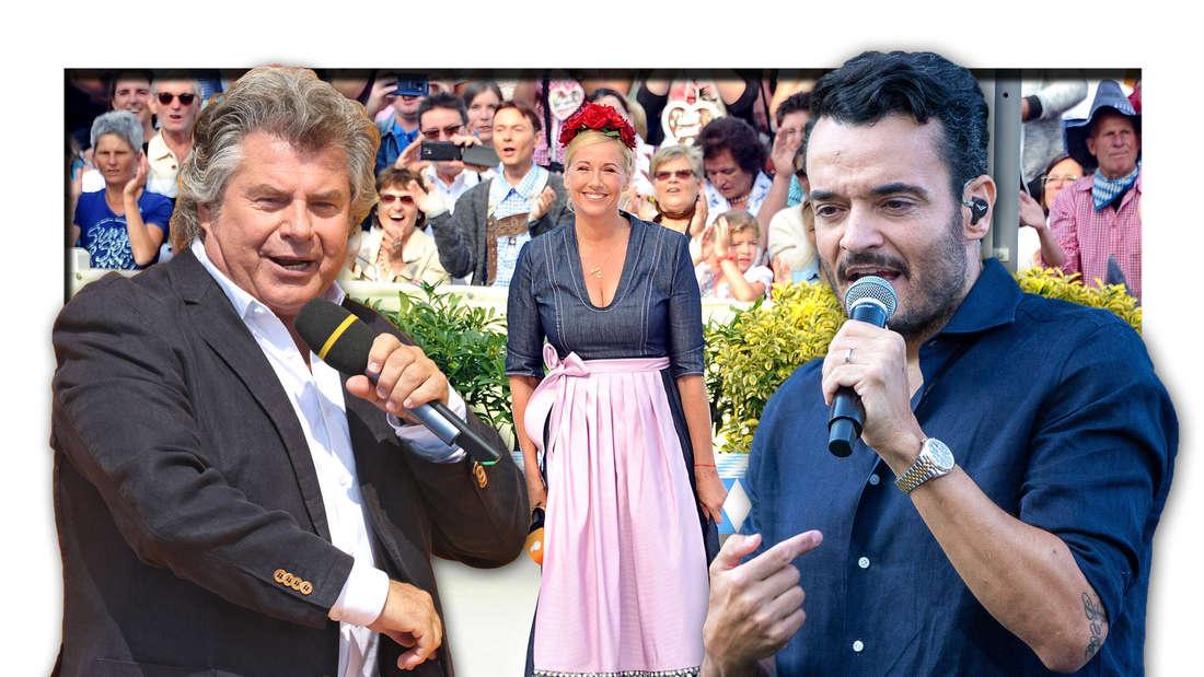 ZDF-Fernsehgarten-Moderatorin Andrea Kiewel, daneben die Schlagerstars Andy Borg und Giovanni Zarrella (Fotomontage)