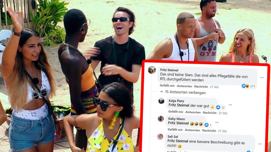 """Die """"Kampf der Realitystars""""-Kandidaten und ein Screenshot der Facebook-Kommentare"""