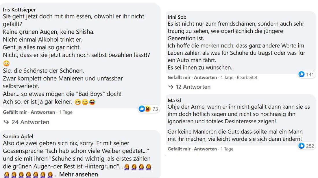 Screenshots von Facebook-Kommentaren