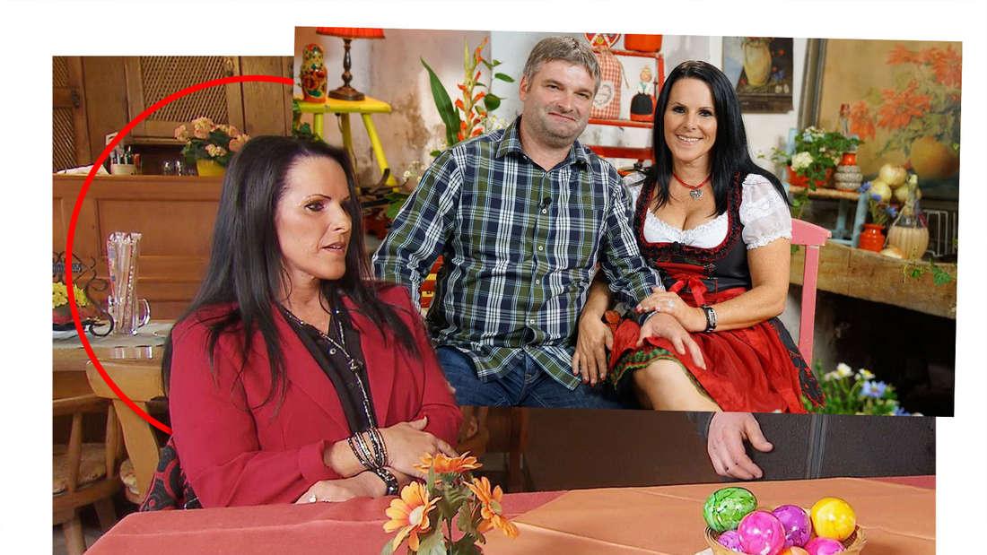 Christa Haberl sitzt mit Bauer Klaus Jürgen am Tisch. (Fotomontage)