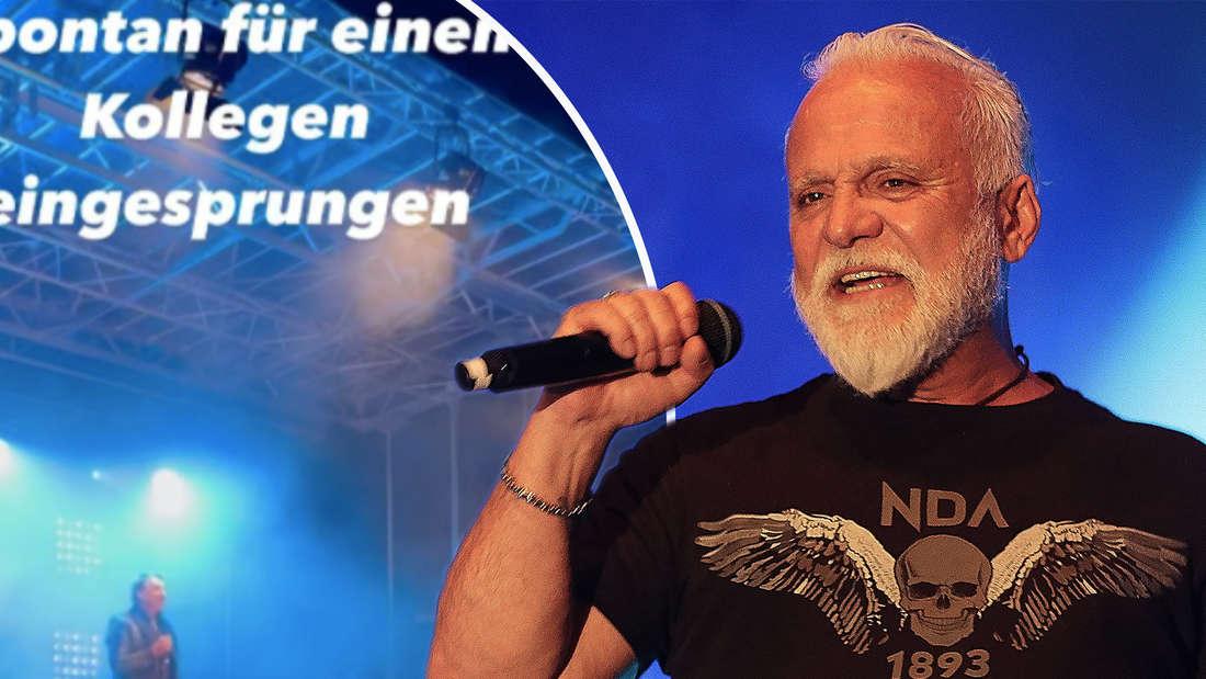 Nino de Angelo beim SchlagerOlymp 2021 am 07.08.2021 in Berlin. Patrick Lindner postet ein Foto von seinem Autritt in Walldürn. (Fotomontage)