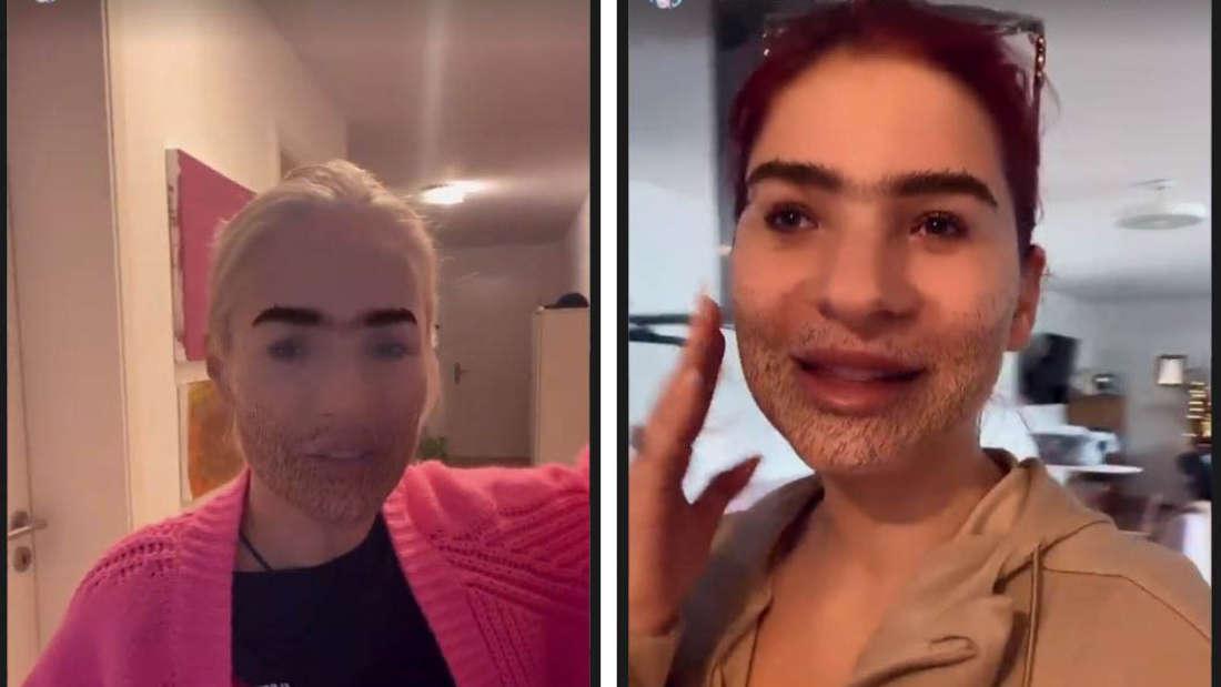 """Marie Reim und Michelle albern mit dem Instagram-Filter """"Ugly Face"""" herum"""