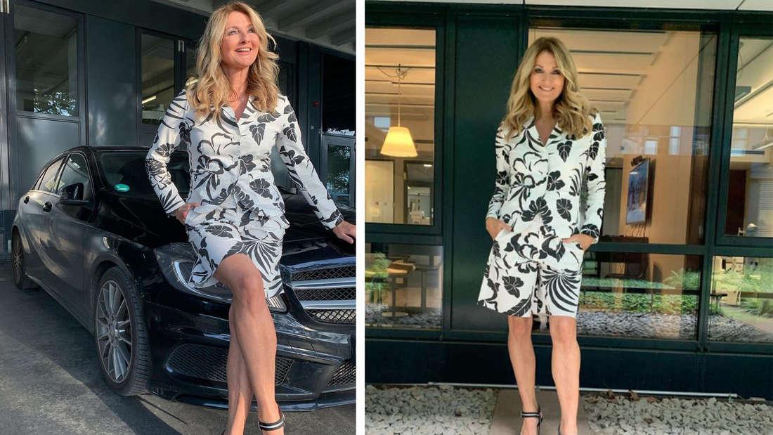 Zwei Bilder von Frauke Ludowig in Bermudas und Blazer