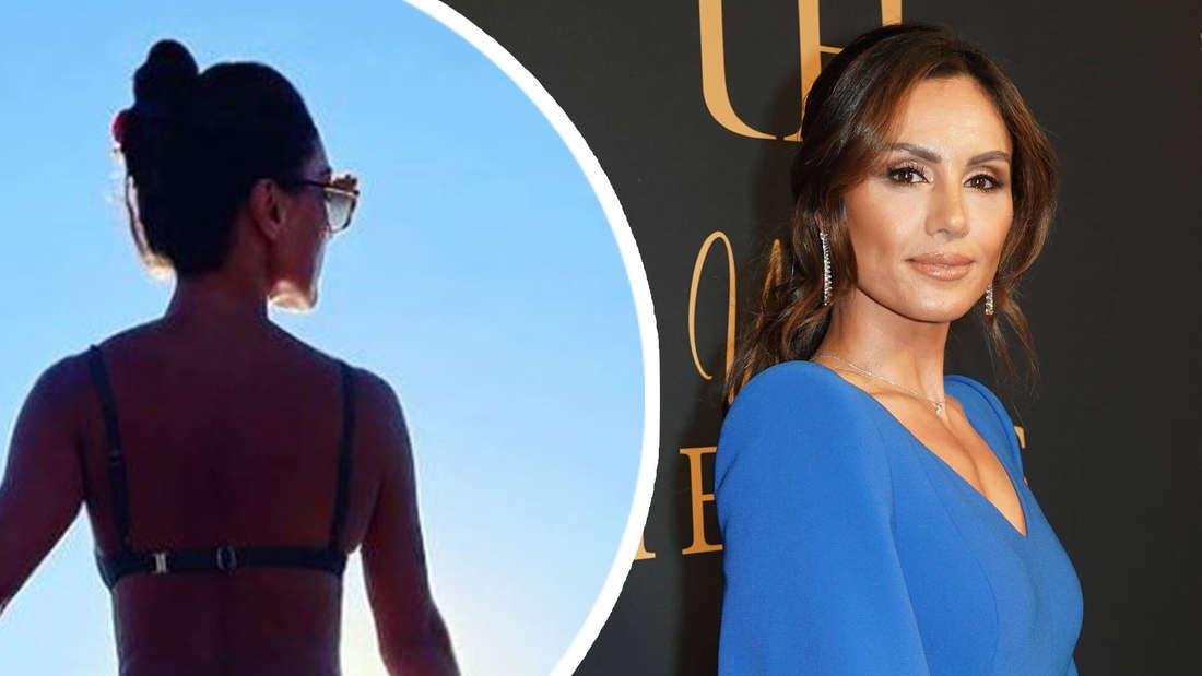 Nazan Eckes im Bikini vor Sonnenuntergang und im blauen Kleid