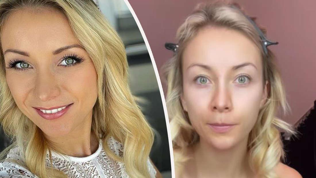 Fotomontage: Anna-Carina Woitschack bei gestylt und ungeschminkt