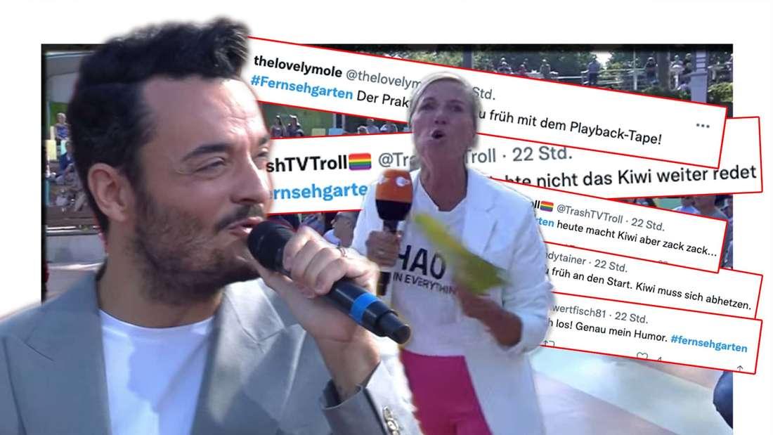 Twitter-Reaktion auf den ZDF-Fernsehgarten vom 5. September: Playback von Giovanni Zarrella beginnt zu früh. Andrea Kiewel moderiert Schlagerstar Giovanni Zarrella an. (Fotomontage)