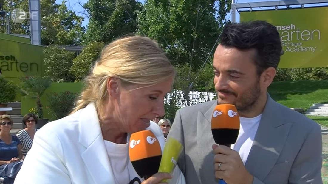 Andrea Kiewel flirtet im ZDF-Fernsehgarten mit Giovanni Zarrella.