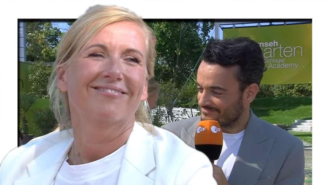 Andrea Kiewel flirtet im ZDF-Fernsehgarten mit ihrem Kollegen Giovanni Zarrella. (Fotomontage)