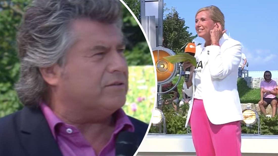 Andy Borg und Andrea Kiewel am 5. September 2021 auf der Bühne des ZDF-Fernsehgartens (Fotomontage)