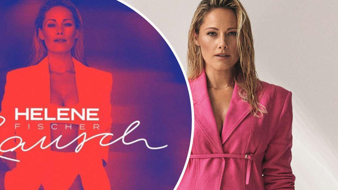 Helene Fischers neues Album und Promo-Shoot von Helene Fischer in einem pinken Blazer (Fotomontage)