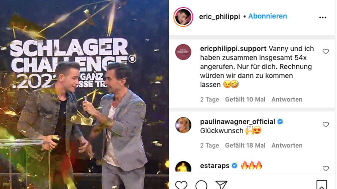 Eric Philippi und Florian Silbereisen auf der Bühne der Schlagerchallenge. Kommentare unter einem Instagram-Post von Eric Eric Philippi (Fotomontage).
