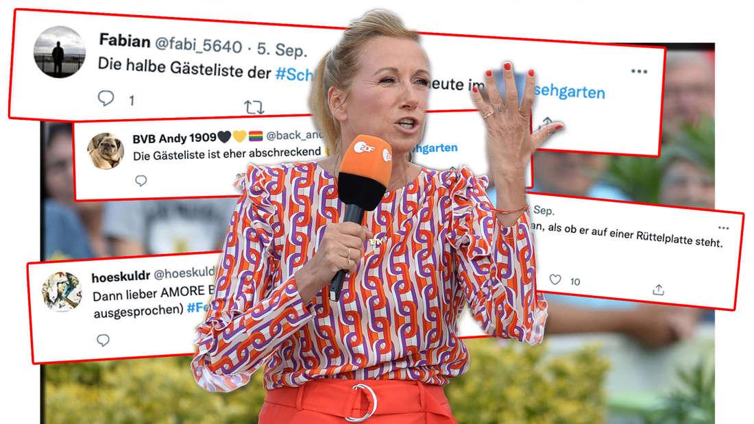 ZDF-Fernsehgarten am 26.08.2018 auf dem Mainzer Lerchenberg in Mainz mit Andrea Kiewel. Fanreaktionen auf das Schlagerfestival am 5. September (Fotomontage)