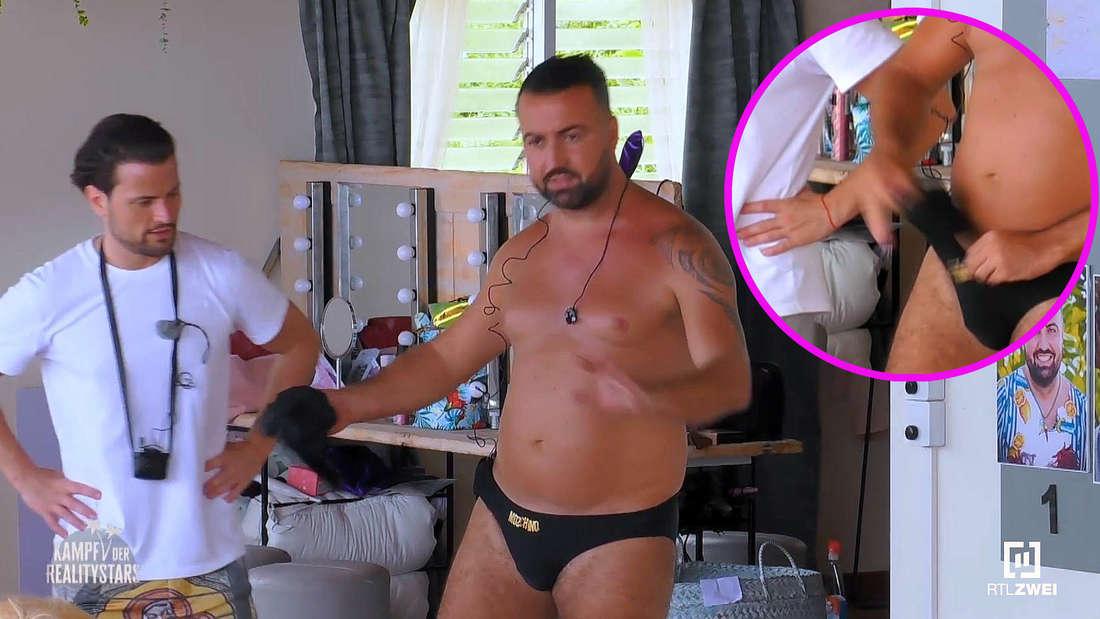 Cosimo steckt sich Socken in seine Hose bei Kampf der Realitystars, damit sein Penis größer erscheint.