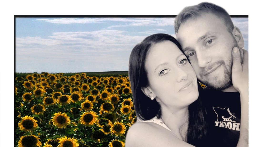 Fotomontage: Denise Mundig und Nils Dwortzak vor Sonnenblumen