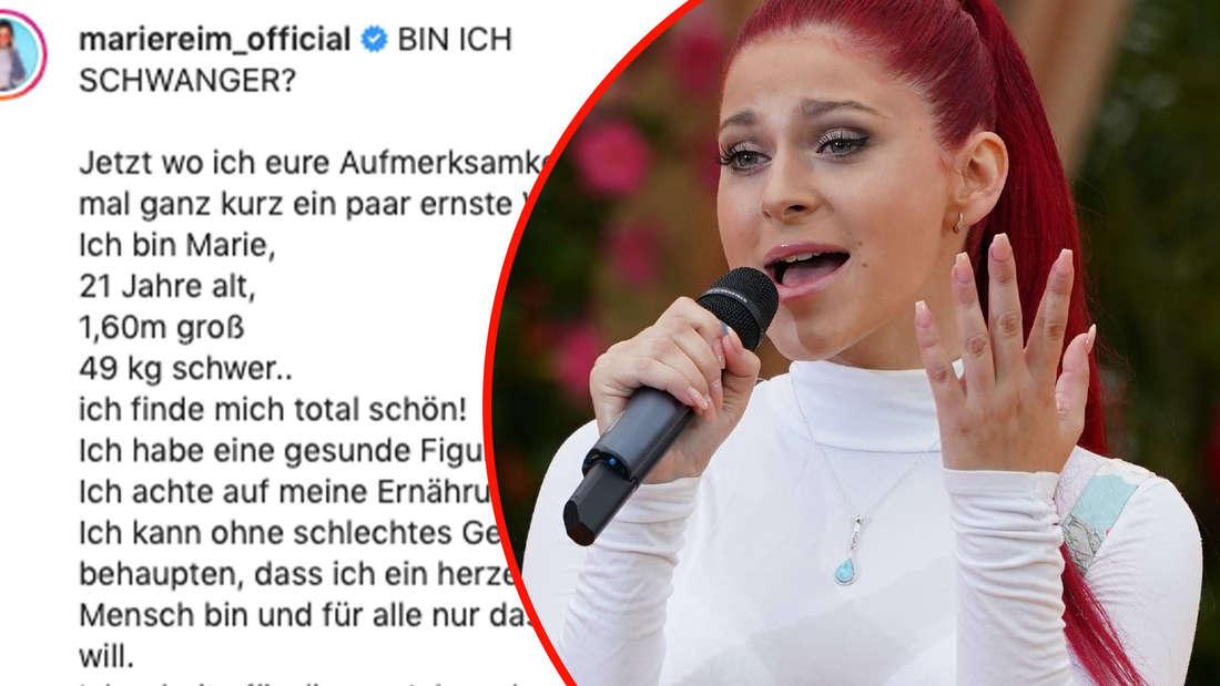 """Marie Reim zu Gast bei """"Immer wieder sonntags"""" (Folge 7) am 01.08.2021. Screenshot Neues Instagramfoto von Marie Reim (Fotomontage)"""
