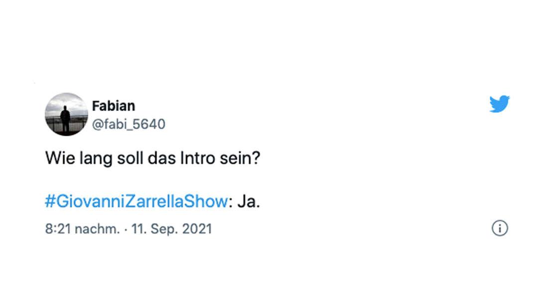 """Twitter-Reaktion eines Fans zur """"Giovanni Zarrella Show"""""""