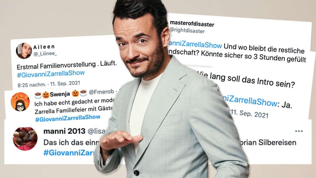 """Promofoto zur """"Giovanni Zarrella Show"""". Dahinter: Tweets zur TV-Show. (Fotomontage)"""