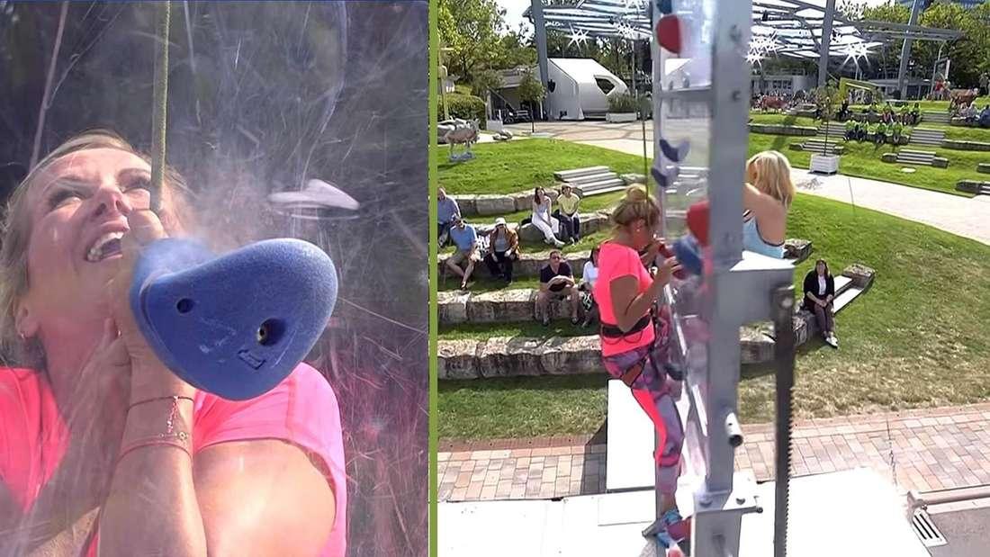 Wegen Höhenangst: Andrea Kiewel musste vom Sicherheitsdienst im World Trade Center nach unten gebracht werden