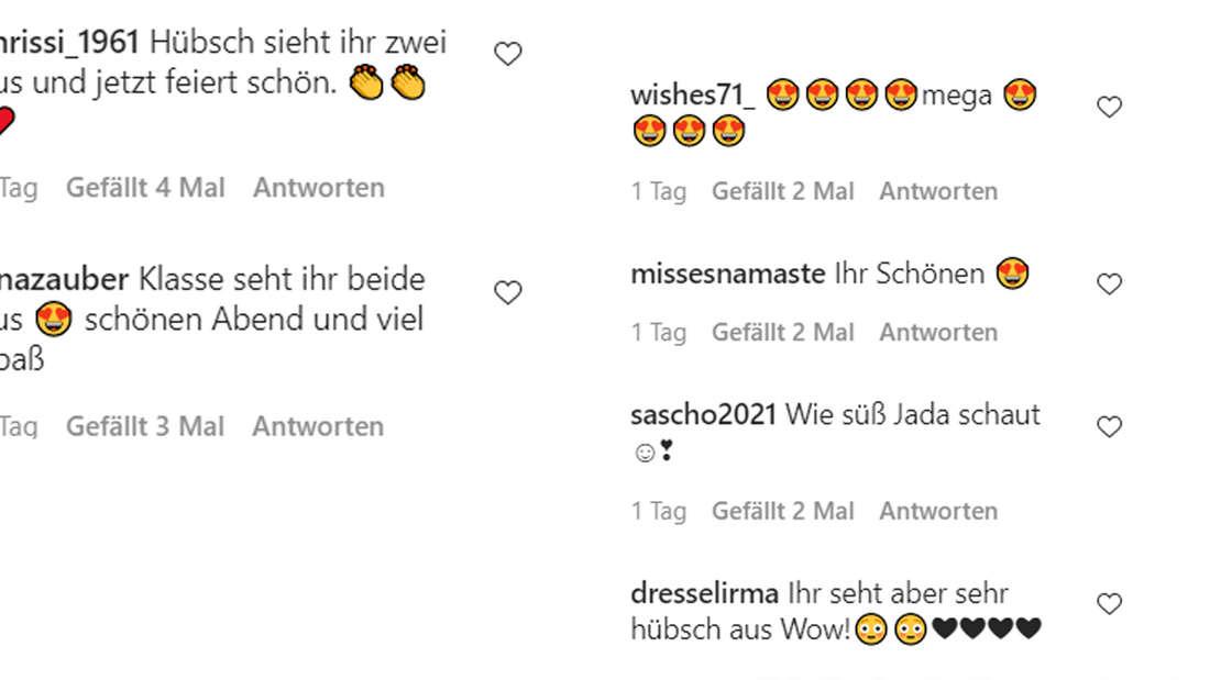 Fans feiern Danni Büchner und Jada auf Instagram