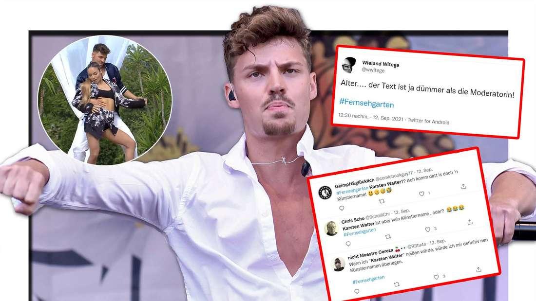 Karsten Walter schaut böse, Twitter Kommentare, Karsten tanzt mit einer Tänzerin im Fernsehgarten