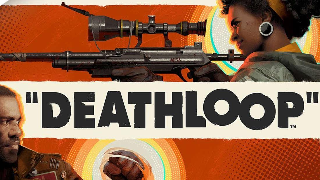 Die Deathloop-Charaktere Colt und Julianna schauen in entgegengesetzte Richtung, in ihrer Mitte befindet sich der Schriftzug